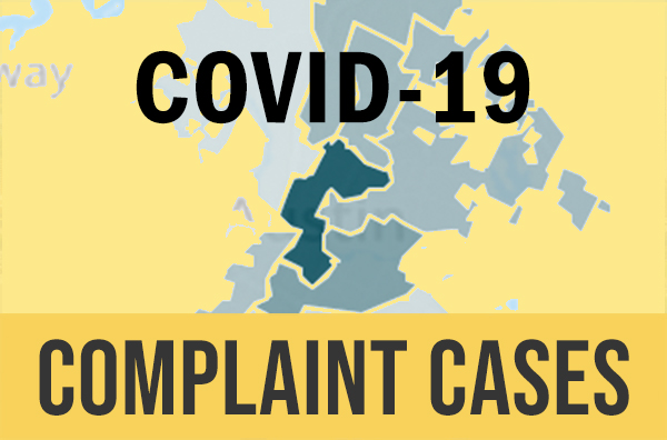 yellow and blue thermal map of Austin with the words covid 19 complaint cases