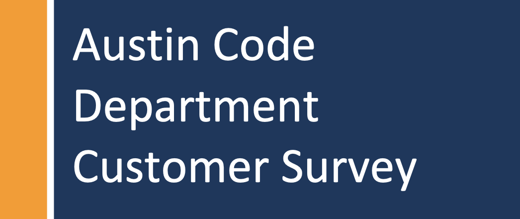 austin code department customer survey text on a blue and orange background