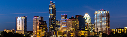 Photograph of Downtown Austin skyline in the evening