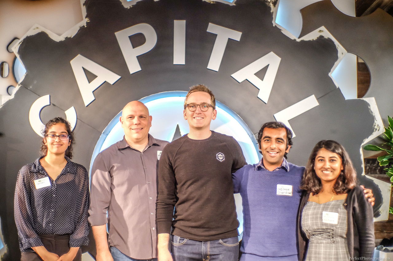 [Re]Verse Pitch finalists Anjali Sridharan, Keith Kritselis, Mike Strong, Krishn