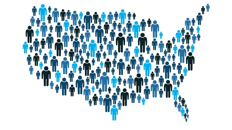 Image of the United States made up of people