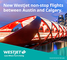 Westjet non-stop flights between Austin and Calgary