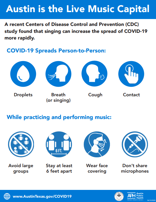 Screenshot of guidance flyer for musicians and bands during COVID-19