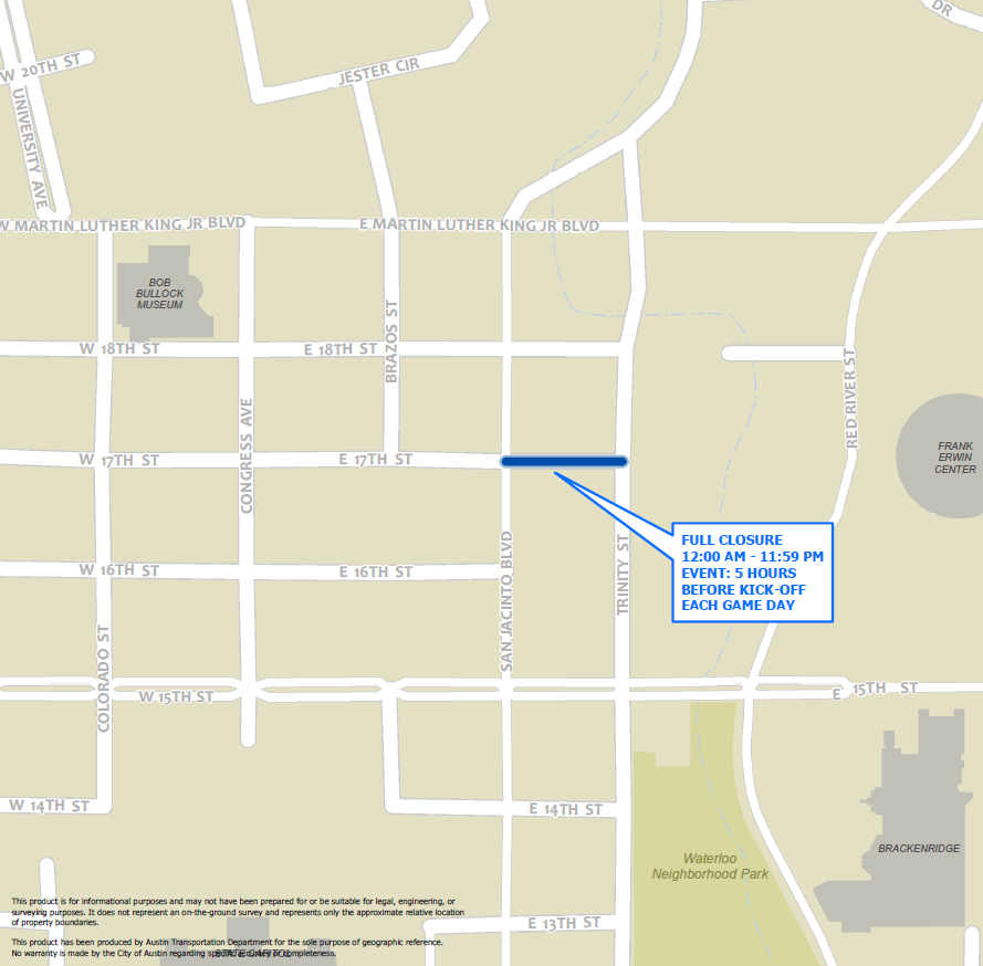 Texas Tailgarten Street Closure Map