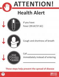 Attention! Health Alert - If you have a fever, cough, shortness of breath, call the clinic before entering.