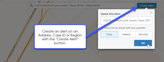"Create an alert on an address, case ID or region with the ""create alert"" button."