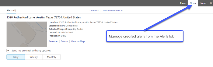 Manage created alerts from the Alerts tab.