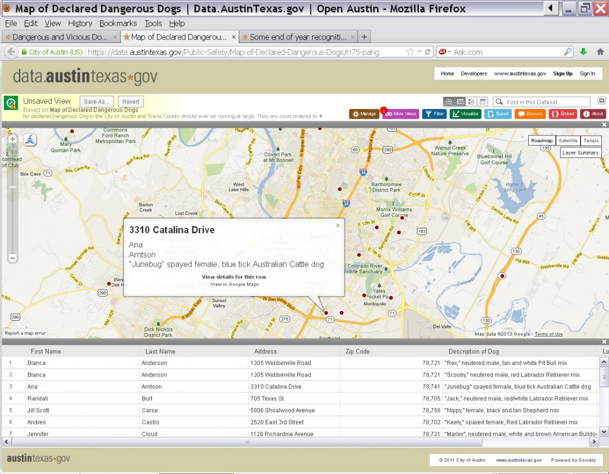 A screen shot of the Dangerous Dogs map on the Data Portal demonstrates that the map allows users to zoom into specific parts of Austin and learn more about dangerous dogs in that area.