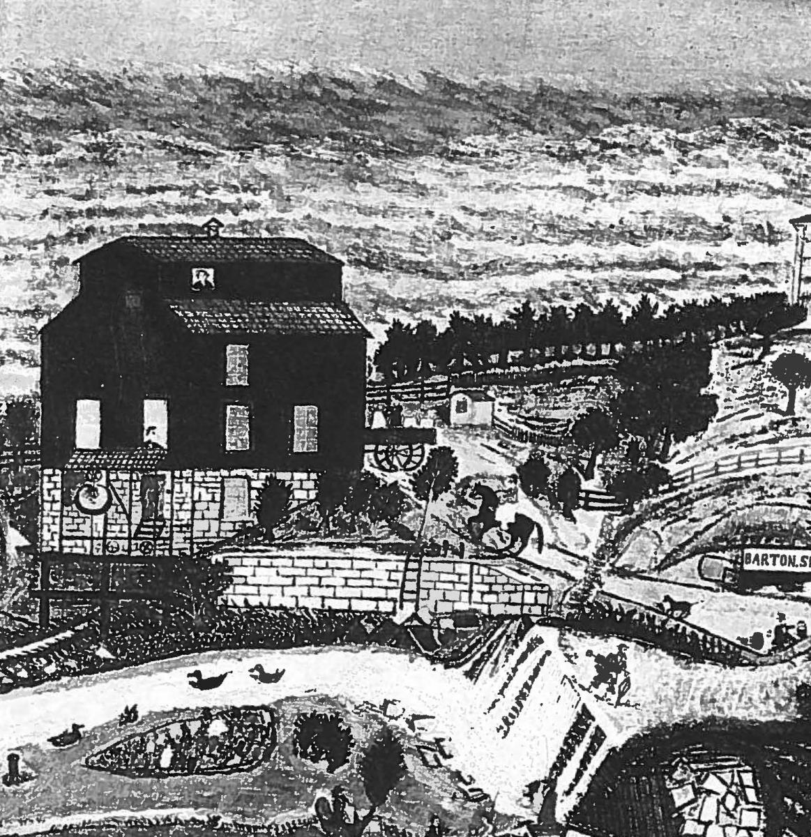 A painting by A.M. Rumsey, 1882, shows three-story Barton Springs mill and the dam. Photo provided by the Austin History Center.