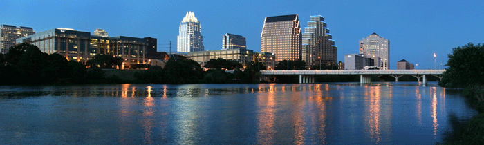 Skyline of the City of Austin at dusk