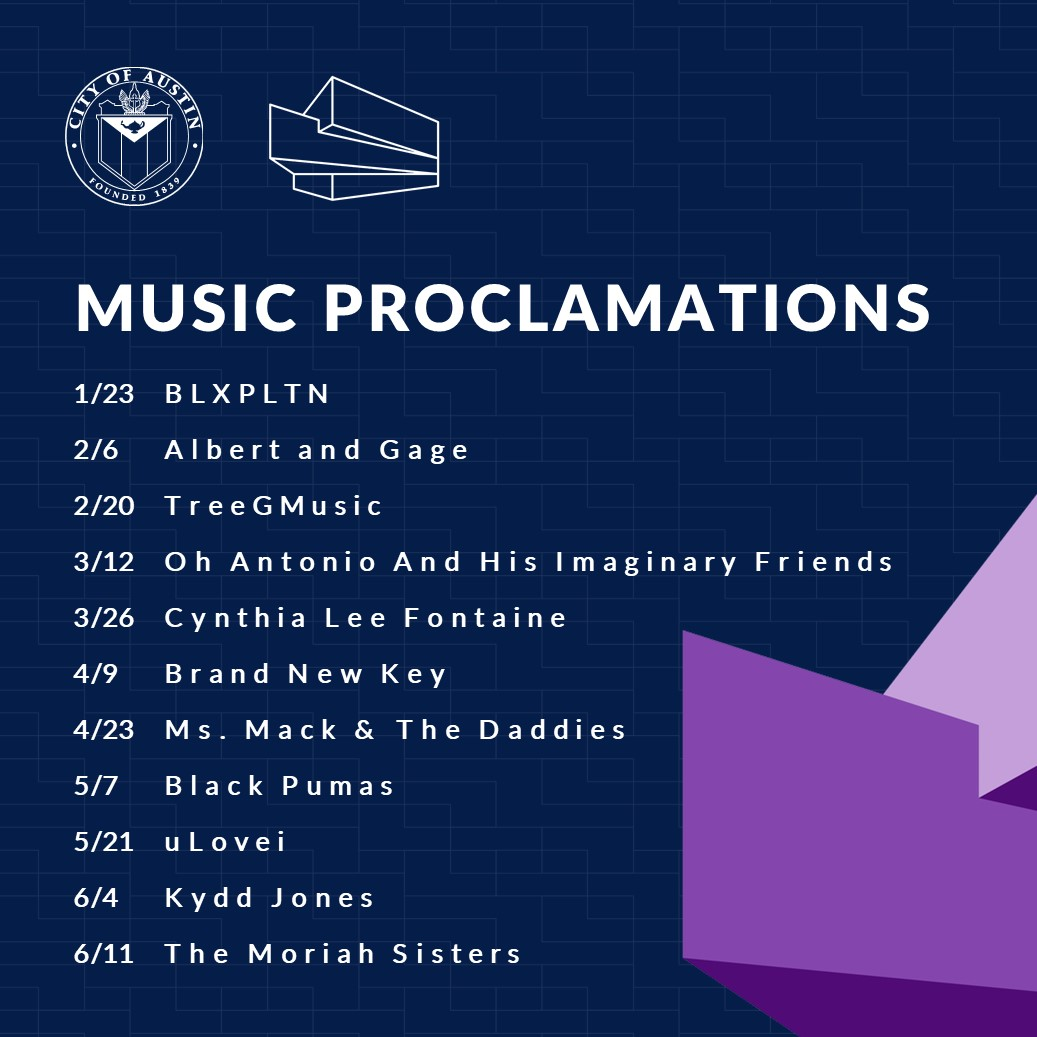 2020 Music Proclamations List Graphic