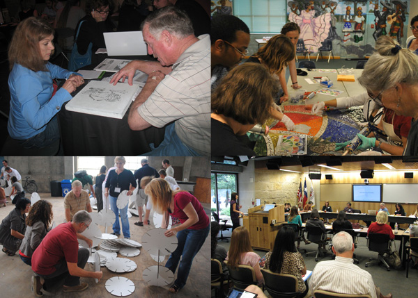 Collage of artists and workshop participants