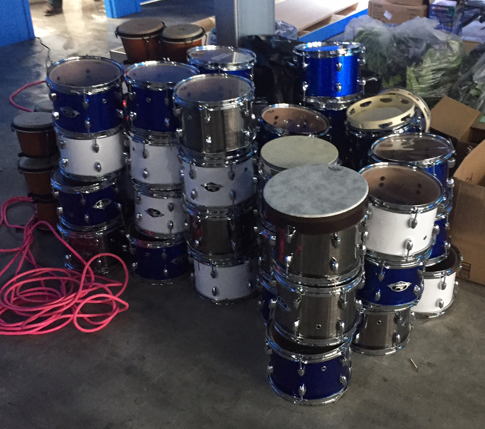 A stack of drums that had been used as decoration.