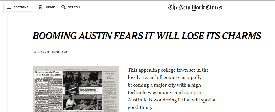 "New York Times article headline reads ""Booming Austin Fears It Will Lose Its Charms"""