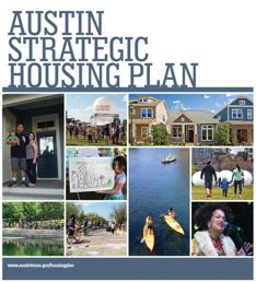 Cover of the Austin Strategic Housing Blueprint - Collage of people, housing structures and community