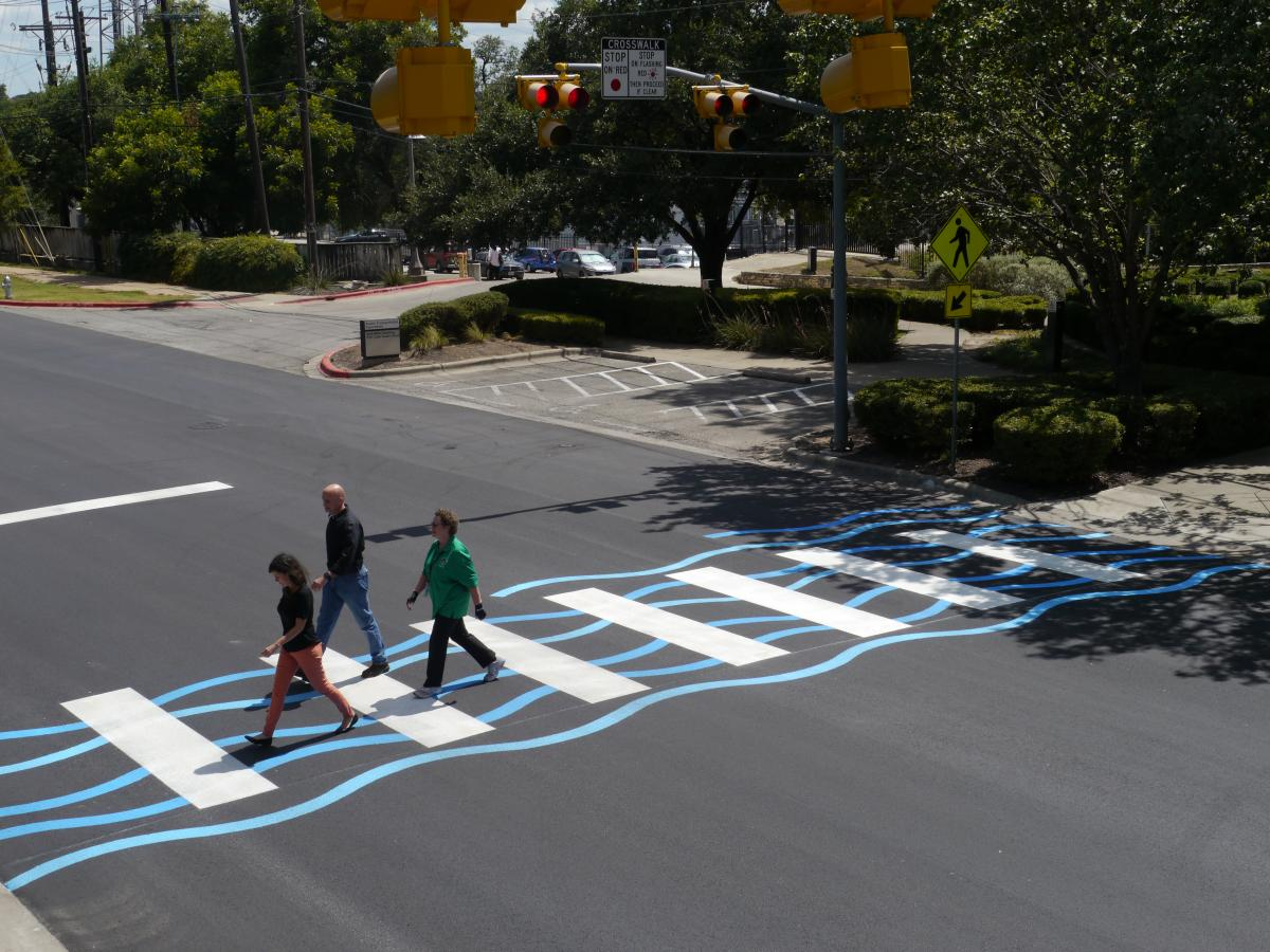 Photo of the first creative crosswalk.