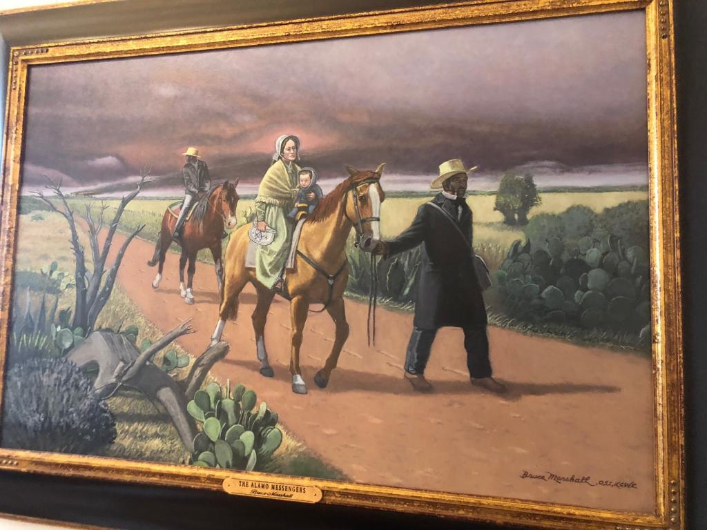 Painting of Susanna Dickinson and Joe (Travis's Slave) on the road after surviving the battle of the Alamo