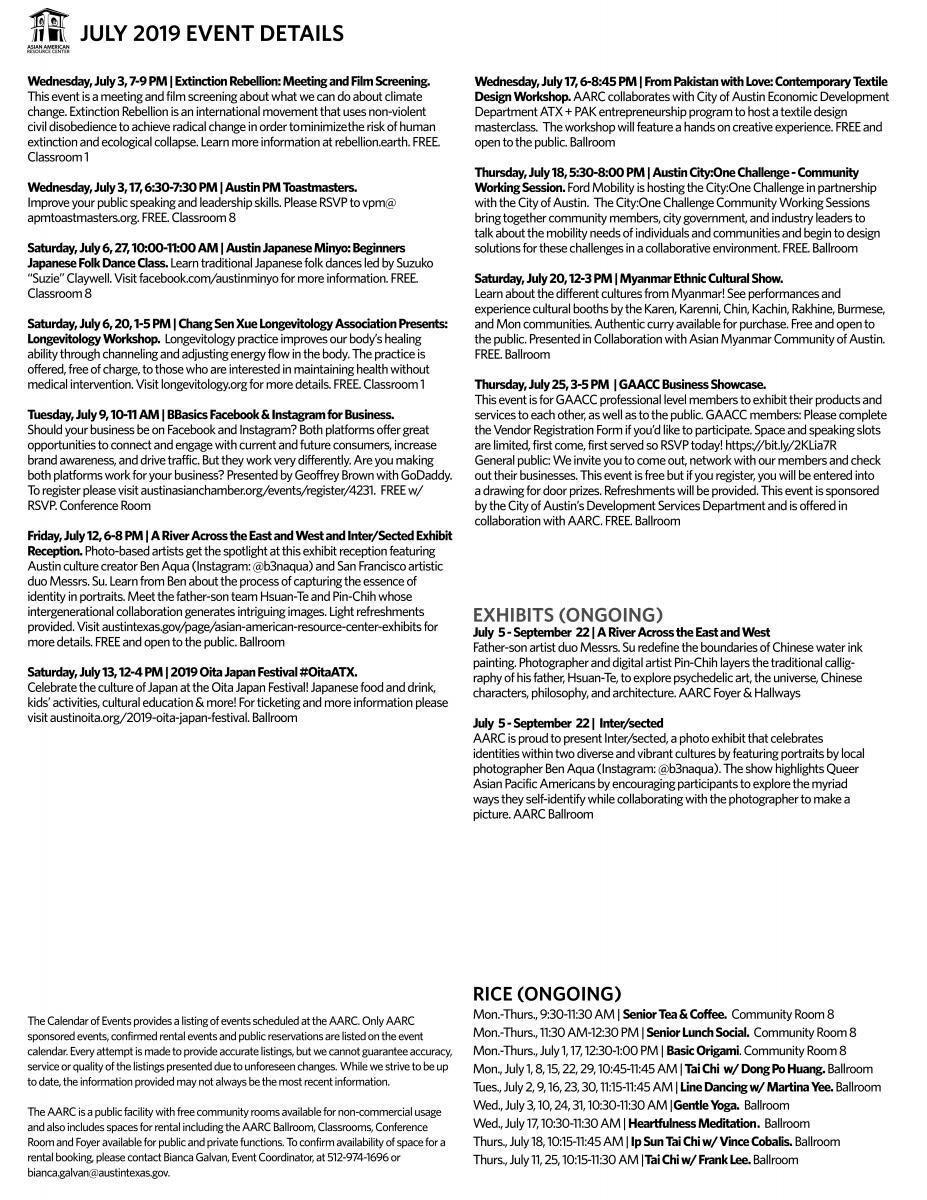 Austin Event Calendar 2019 Asian American Resource Center Events | AustinTexas.gov   The