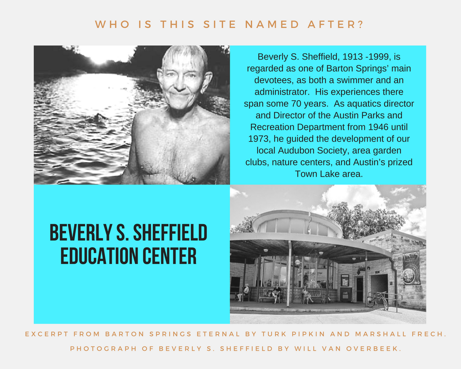Photo collage explains who the Beverly S. Sheffield Education Center is named after.