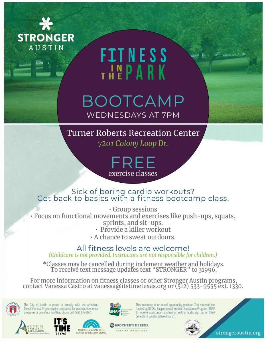Free Bootcamp on Wednesdays from 7:00-8:00pm, All Fitness Levels welcome