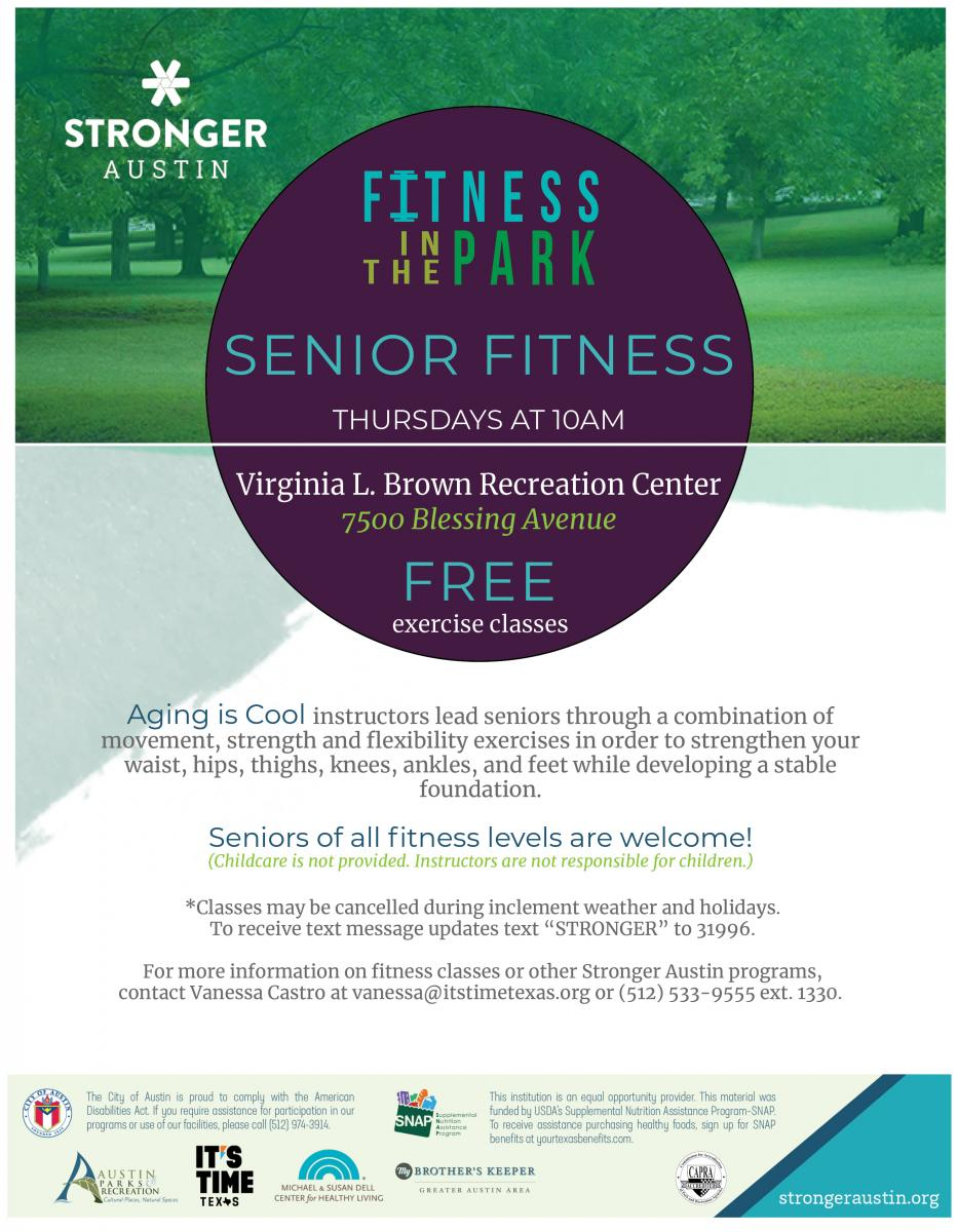 Free Senior Fitness Class on Thursdays from 10-11am, All Fitness Levels welcome