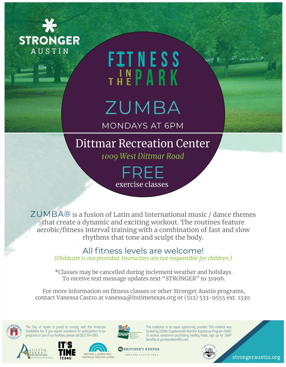 Free Zumba on Mondays from 6-7pm, All Fitness Levels welcome