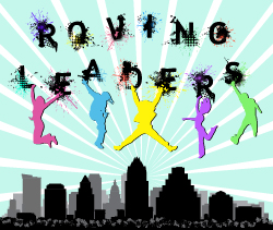 Roving Leaders Program - illustration of teens and Austin skyline