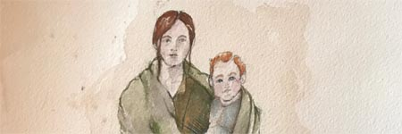 watercolor  depticting Susanna holding Angelina Dickinson by Mercedes O'Bannion