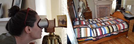 person viewing stereopscope and view of gallery bedroom with focus on Alamo descendent quilt