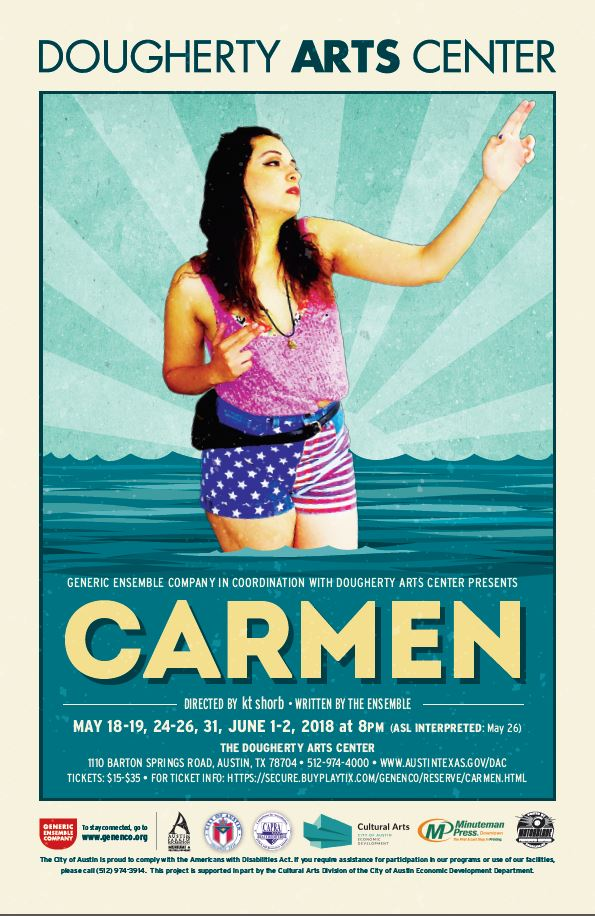 Carmen Poster. Image of woman in pink shirt and blue shorts posing in front of animated water.