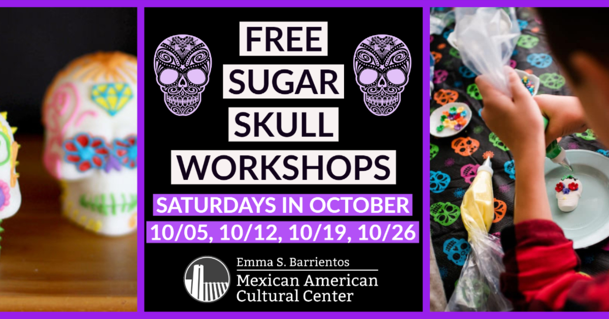 Free Sugar Skull Workshops Oct 5, 12, 19, 26 from 11am-1pm