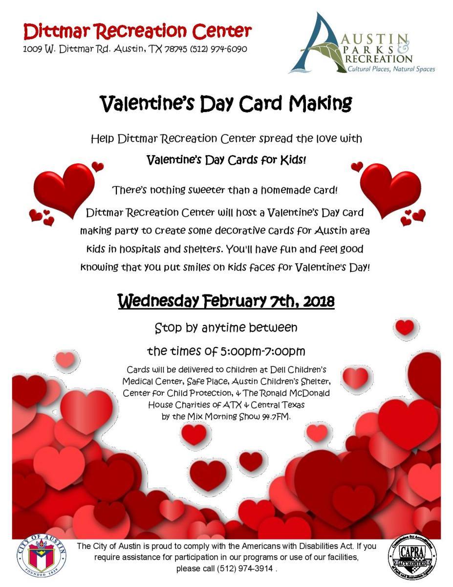 Valentineu0027s Day Card Making At Dittmar Recreation Center