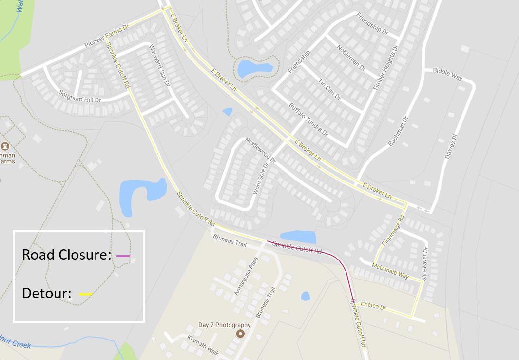 Road Map Of Austin Texas.Partial Road Closure At Sprinkle Cutoff Begins Monday June 25