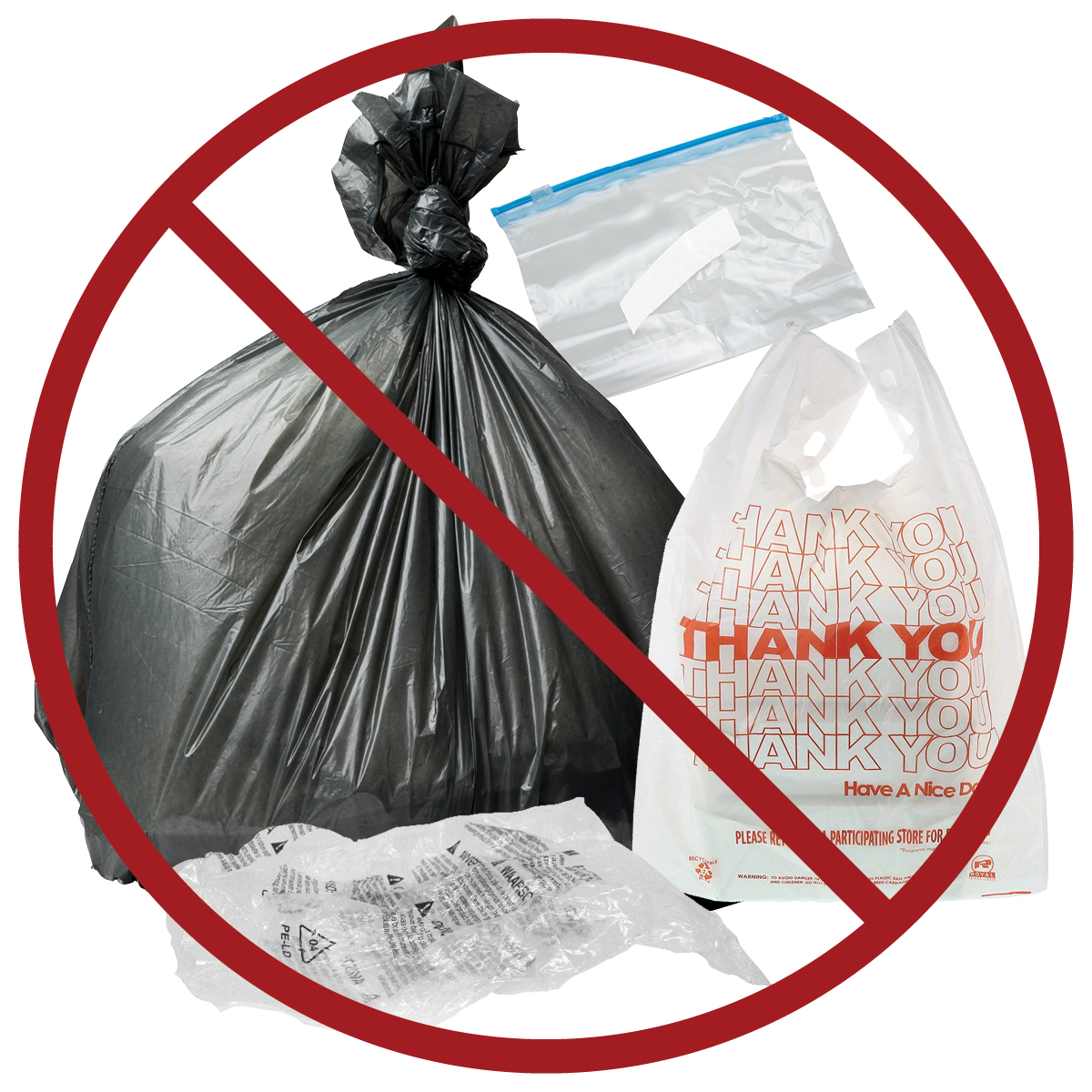 Plastic bags and film: keep out of blue cart