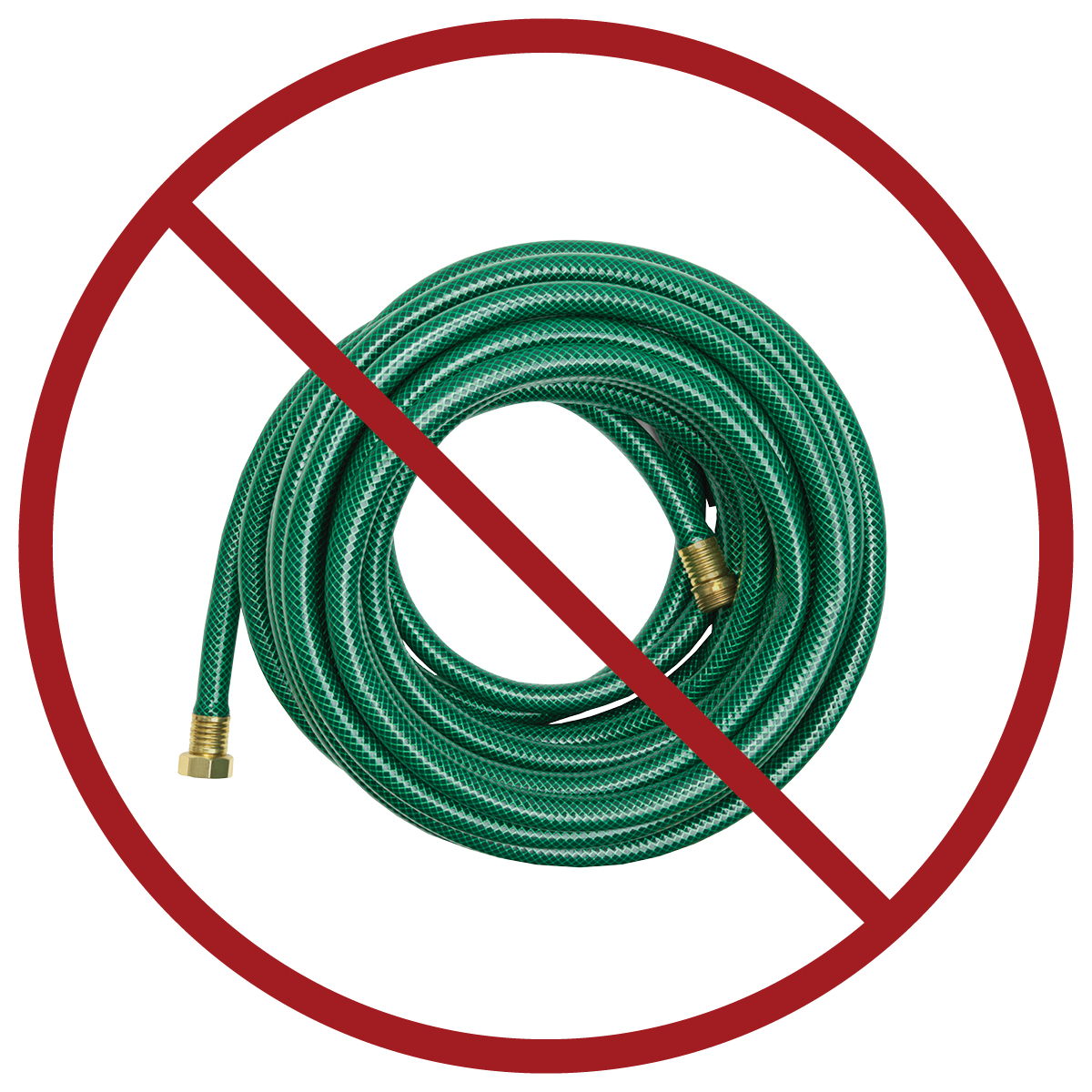 garden hose : keep out of blue recycling cart