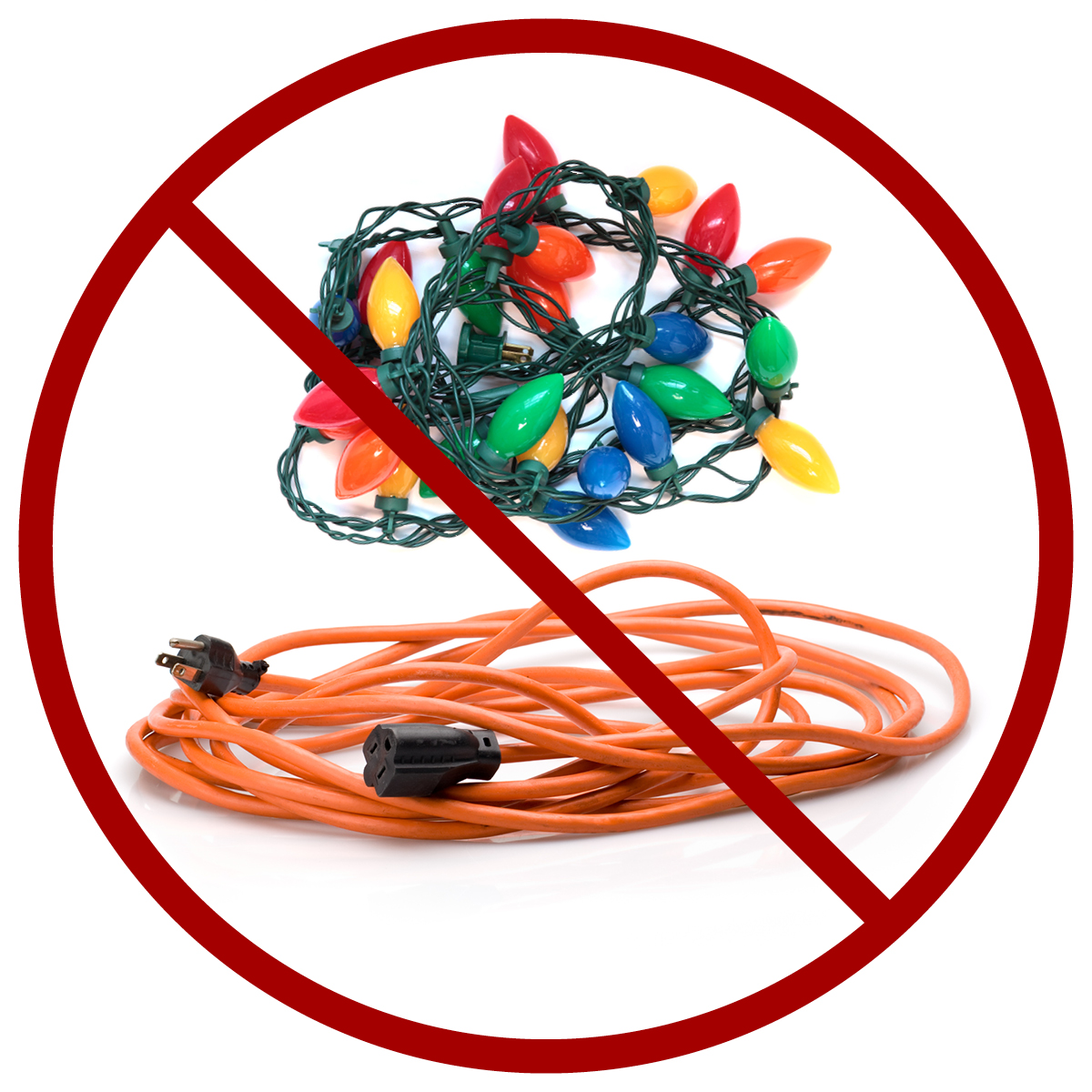 string of lights and extension cord: keep out of clue recycling cart