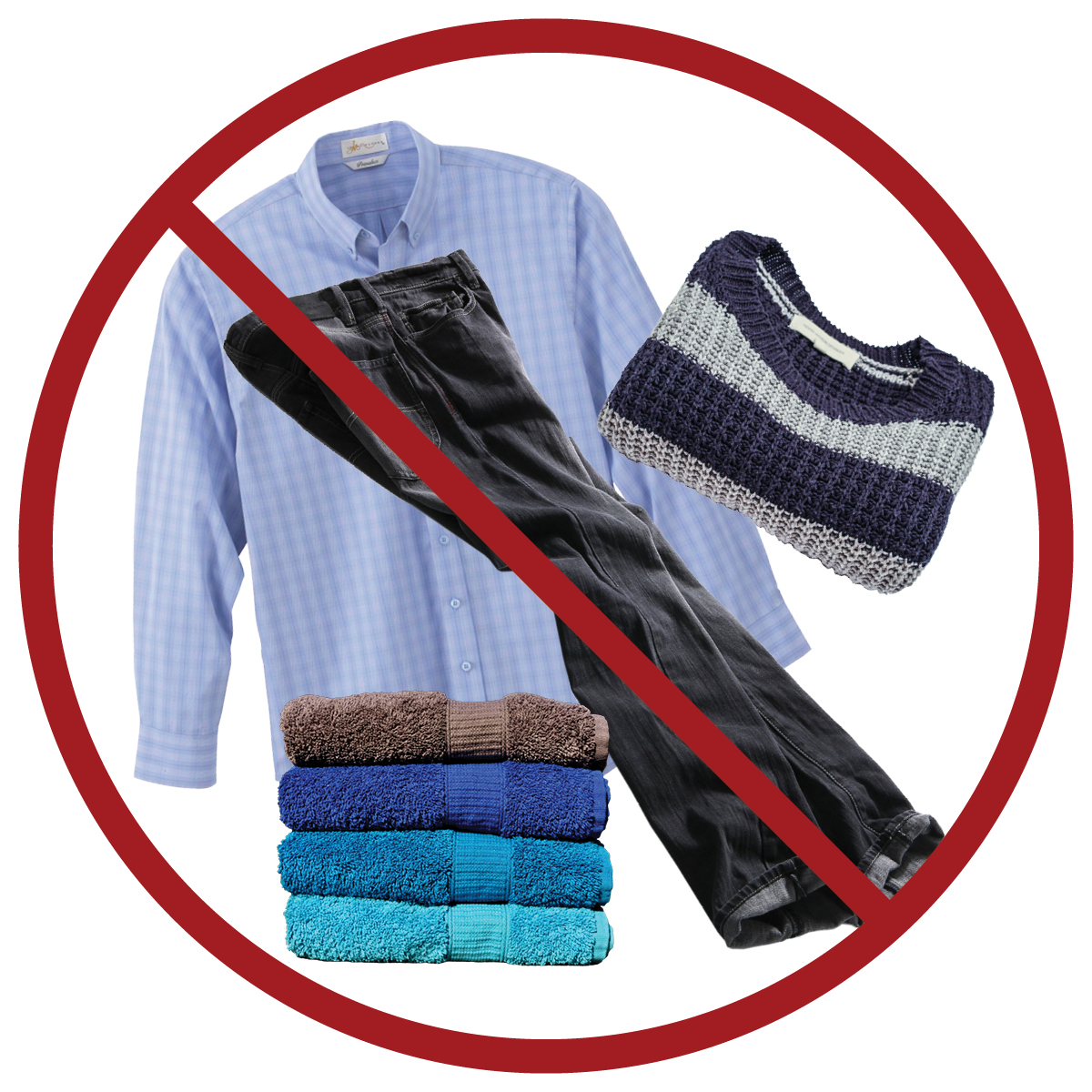 clothing and textiles: keep out of blue recycling cart