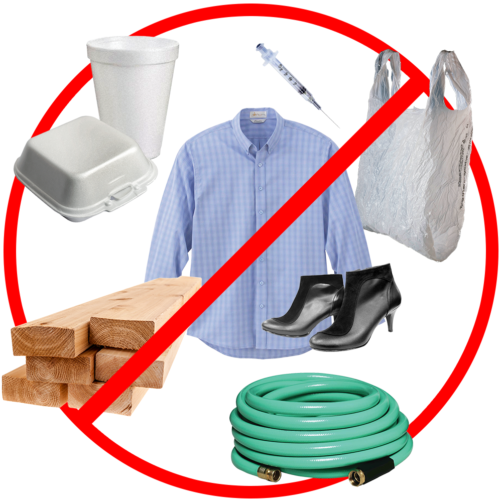 Image of Styrofoam, clothing, plastic bags, wood and garden hoses