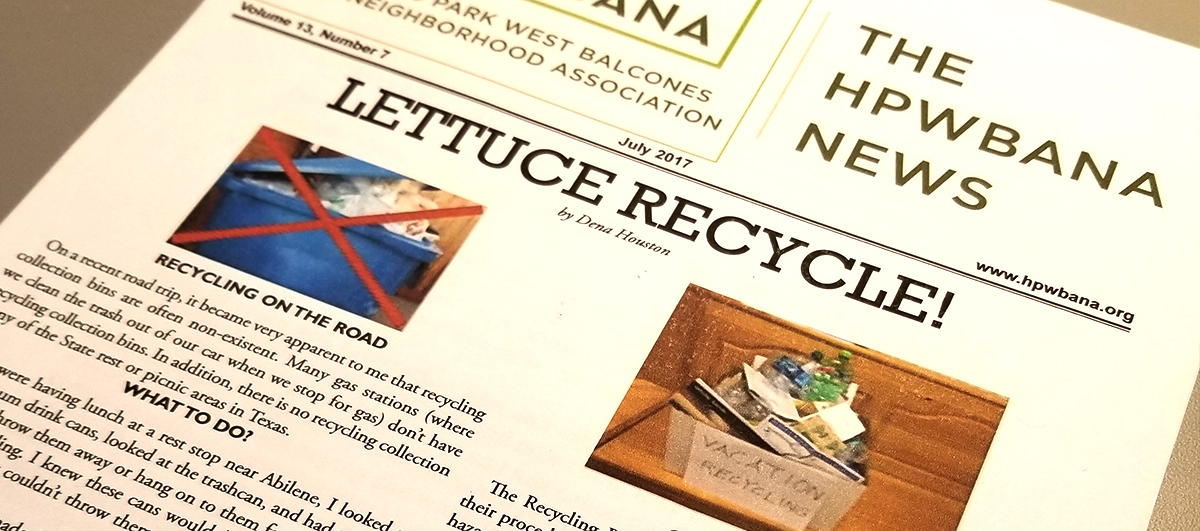 "picture of ""Lettuce Recycle"" newsletter"