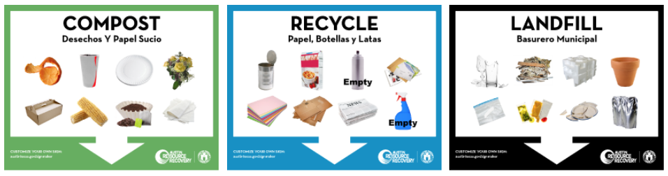 Image of composting, recycling and trash signs. Click to make your own.