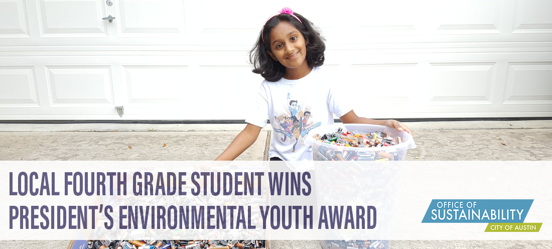 Text: Local Fourth Grade Student wins Presiden'ts Environmental Youth Award, photo is of child with buckets of batteries.