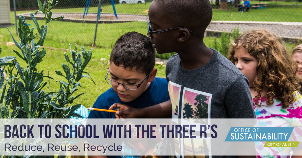 Text: Back to school with the three R's: Reduce, Reuse, Recycle