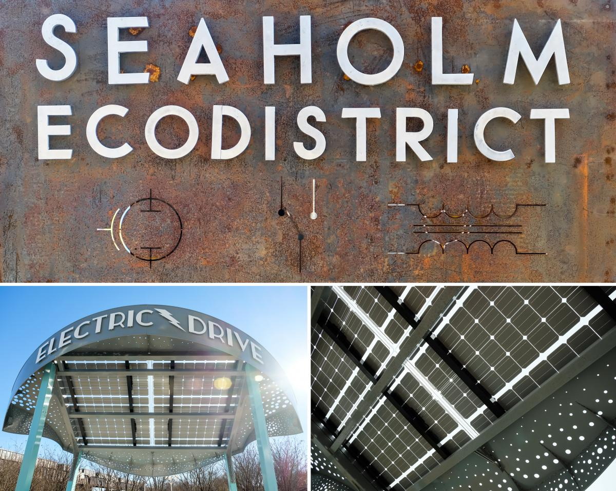 Seaholm EcoDistrict letters and photos of solar kiosk