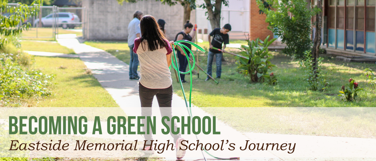 Becoming a green school: Eastside Memorial High School's Journey, photo is a girl carrying a hose.