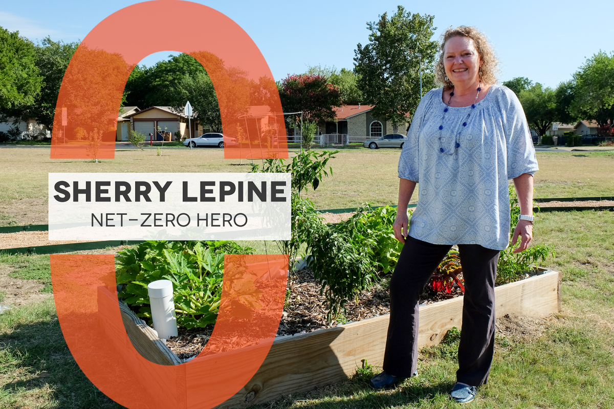 Net-Zero Hero: Sherry Lepine, Photo: Sherry Lepine at a school garden