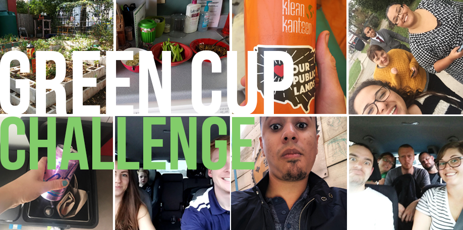 "Text: Green Cup Challenge over collage of small images of people doing ""green"" things."