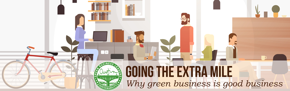 Text overlay: Going the Extra Mile: Why green business is good business. Photo: animation of peopel working in an office.