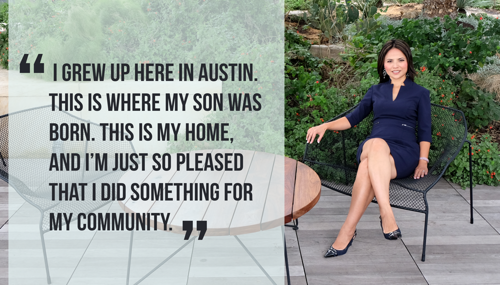 "Photo of Heidi seated in the library rooftop garden. Quote reads: ""I grew up here in Austin, This is where my son was born. This is my home, and I'm just so pleased that I did something for my community."""