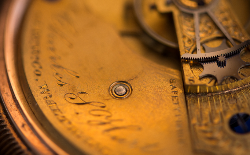 Close-up of old clock or pocketwatch.