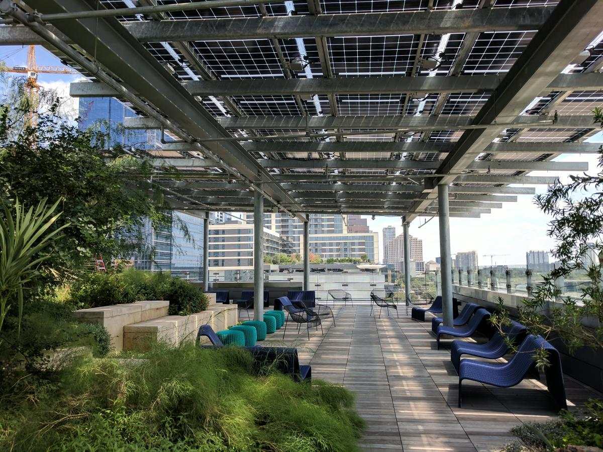 Outdoor patio at the new Central Library with solar panels as roof.